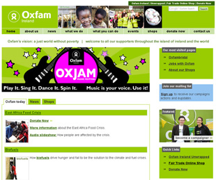 Brand new shiny Oxfamireland.org homepage