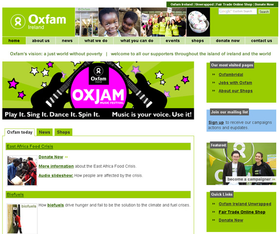 New Oxfam Homepage