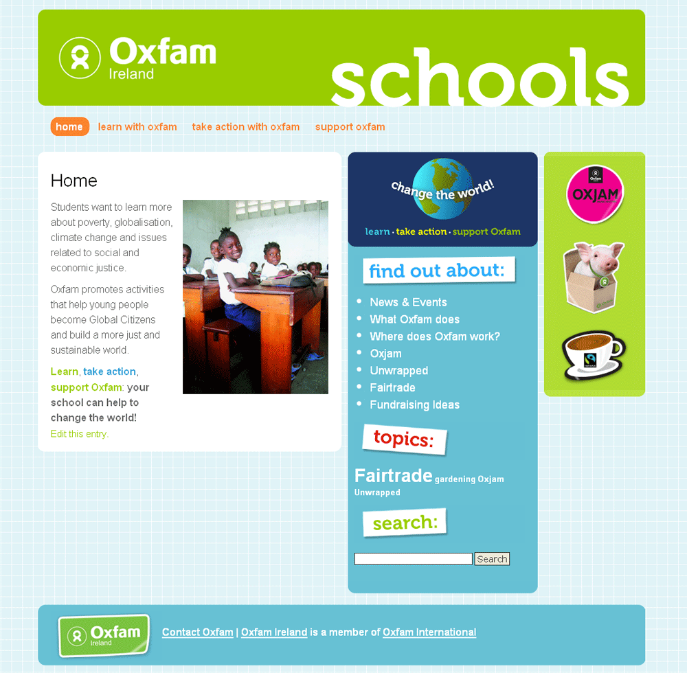 Oxfam Schools Website